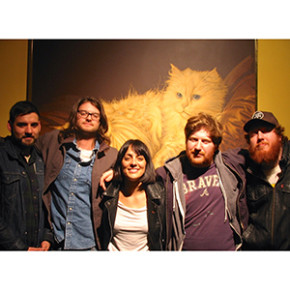 Breanna Barbara and the Giant Cat in WFMU's front hallway