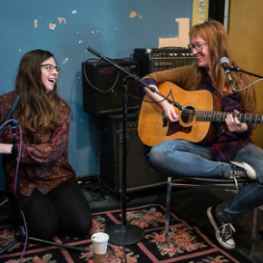 Debby Schwartz and Ember in WFMU studios