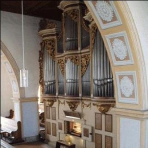 The 1721 Gottfried Silbermann organ, Georgenkirche, Rötha, Germany, on which BWV 539 (among other works) was recorded.