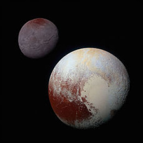 """""""The image is of Pluto (foreground) and the moon Charon (left, background).     Source: https://www.nasa.gov/mission_pages/newhorizons/images/index.html?id=371389"""""""