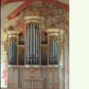 The 	1722 Gottfried Silbermann organ, Marienkirche, Rötha, Germany, on which BWV 672 (among other works) was recorded.