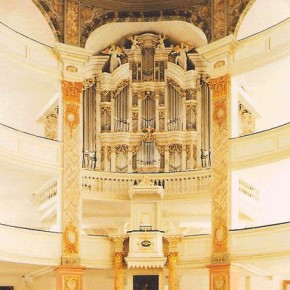 The 1724-30 Trost organ, Stadtkirche, Waltershausen, Germany, on which BWV 593 (among other works) was recorded.
