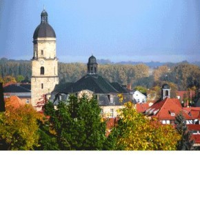 """The Stadtkirche """"Zur Gotteshilfe"""" in Waltershausen, Germany, in which BWV 650 (among other works) was recorded."""