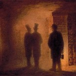Viktor Hartmann, Paris Catacombs. People pictured are Hartmann, Vasily Kenel, and a guide holding the lantern. Watercolor 12.9 x 17 cm. State Russian Museum, St. Petersburg