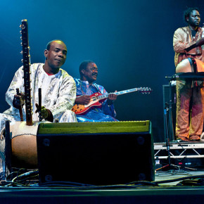 Toumani Diabate, and Yacouba Sissoko performing with AfroCubism at WOMAD Charlton Park 29th July 2011