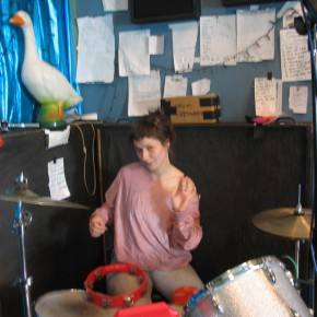 nora on the drums
