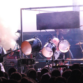 """Faust performing at the Futuresonic Festival in Manchester, United Kingdom, 2007-05-11. From the left: Jean-Hervé Péron and Werner """"Zappi"""" Diermaier. Off-camera: Amaury Cambuzat and Zoë Skoulding."""