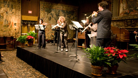 Members of the Gardner Chamber Orchestra perform in the museum's Tapestry Room